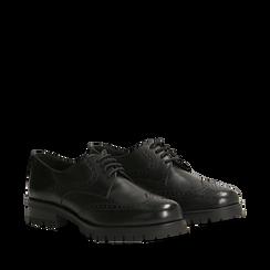 Stringate nere in eco-pelle con lavorazione Duilio, Scarpe, 140851520EPNERO035, 002a
