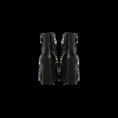 Tronchetti neri con oblò metallo e zip, tacco 7 cm, Scarpe, 128405081EPNERO, 003 preview