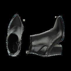 Ankle boots neri stampa vipera, tacco 8,50 cm , Primadonna, 160585965EVNERO035, 003 preview