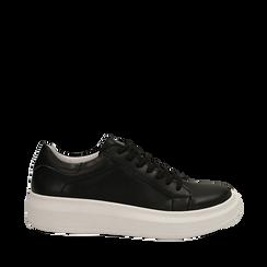 Sneakers nere in eco-pelle con suola flat, Scarpe, 132019051EPNERO035, 001a