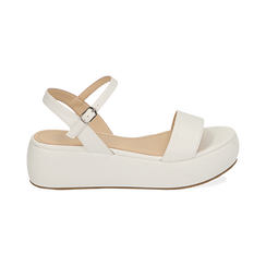 Sandali bianchi in eco-pelle, zeppa 5 cm , Chaussures, 159790131EPBIAN037, 001 preview