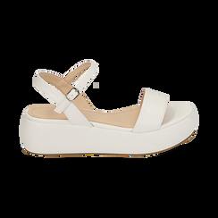 Sandali bianchi in eco-pelle, zeppa 5 cm , Zapatos, 159790131EPBIAN037, 001 preview