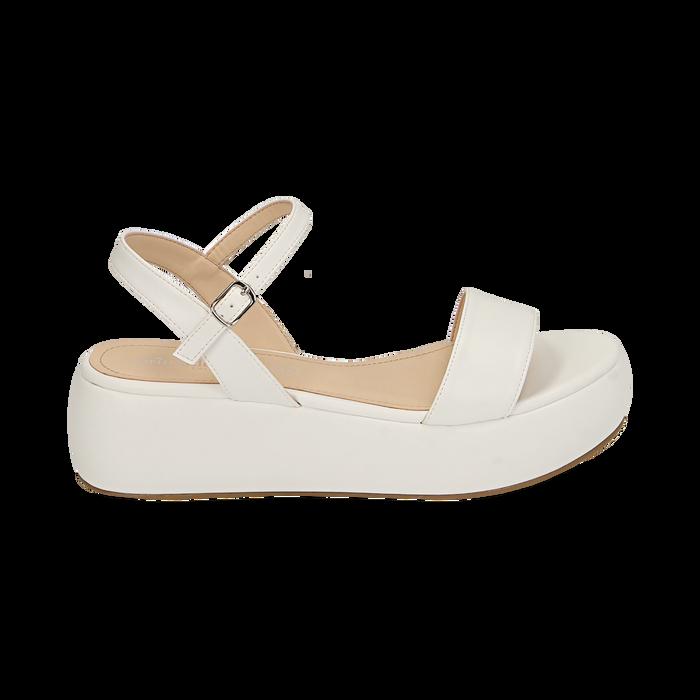 Sandali bianchi in eco-pelle, zeppa 5 cm , Chaussures, 159790131EPBIAN037