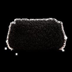 Borsa a tracolla nera in eco shearling con maxi tracolla, Borse, 125700306EPNEROUNI, 002 preview