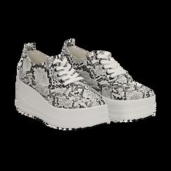 Sneakers bianche e nere in eco-pelle effetto snake print, zeppa 6 cm, Scarpe, 132008353PTBINE036, 002 preview