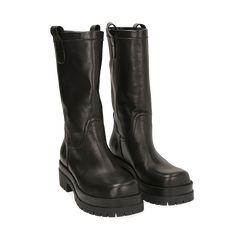 Bikers neri in pelle di vitello, tacco 5 cm , Primadonna, 168900638VINERO036, 002a