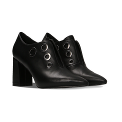 Tronchetti neri con oblò metallo, tacco 7 cm, Primadonna, 128405082EPNERO, 002 preview
