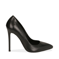 Escarpins noires en cuir de veau, talon 11 cm , Primadonna, 16D600101VINERO036, 001a