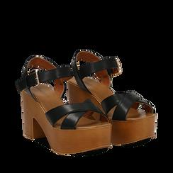Sandali neri in eco-pelle, tacco 9 cm , Primadonna, 134987035EPNERO035, 002a