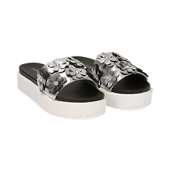 Zeppe argento in laminato con fiori 3D, Primadonna, 112066213LMARGE037, 002 preview