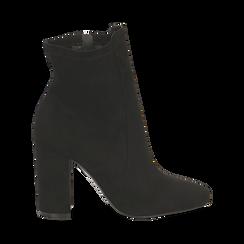 Ankle boots neri in microfibra, tacco 9,5 cm , Stivaletti, 142166061MFNERO035, 001a