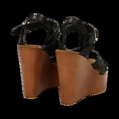 Sandali platform multilistino neri in eco-pelle, zeppa 12 cm , Saldi Estivi, 132147348EPNERO035, 004 preview