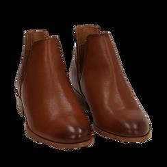 Botines en piel color cuero, tacón 3 cm, Zapatos, 159407601PECUOI037, 002a