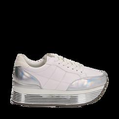 Sneakers bianche in eco-pelle con platform argento, Scarpe, 130751703EPBIAR037, 001a