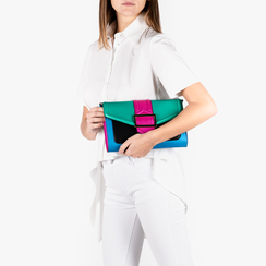Mini bag multicolor verde in eco-pelle e raso, NUOVI ARRIVI, 152392494EPGIALUNI, 002a