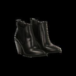 Stivaletti Camperos neri in vera pelle con banda elastica, tacco 8,5 cm, Primadonna, 128900400VINERO036, 002