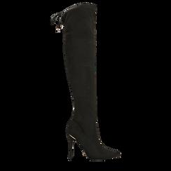 Stivali sopra il ginocchio neri, tacco stiletto 11 cm, Scarpe, 122146868MFNERO035, 001a