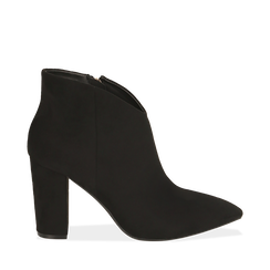 Ankle boots neri in microfibra, tacco 9 cm , 164916101MFNERO036, 001a