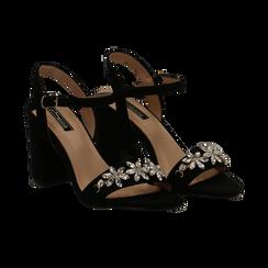 Sandali neri in microfibra con maxi-pietre, tacco 8 cm, Primadonna, 134900971MFNERO035, 002 preview