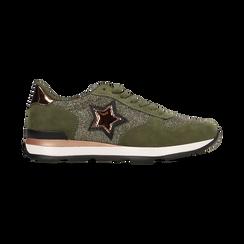 Sneakers verdi dettagli glitter e metallizzati , Primadonna, 121308201LMVERD, 001 preview