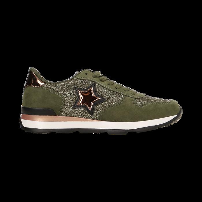 Sneakers verdi dettagli glitter e metallizzati , Primadonna, 121308201LMVERD