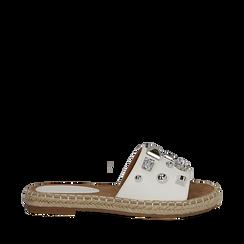 Mules espadrillas bianche in eco-pelle con gemme, Primadonna, 134900008EPBIAN036, 001a