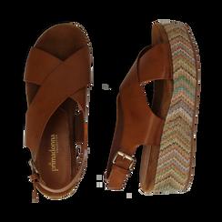 Sandali platform cuoio in eco-pelle, zeppa intrecciata 5 cm, Primadonna, 132117952EPCUOI035, 003 preview