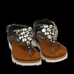 Sandali infradito neri in eco-pelle , 154927051EPNERO035, 002a