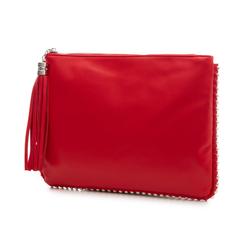 Bustina rossa in eco-pelle con profilo di mini-boules, Borse, 113308956EPROSSUNI, 004 preview