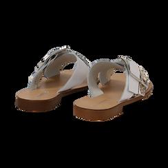 Mules bianche in vera pelle con dettagli snake skin, Primadonna, 133500088PEBIAN036, 004 preview