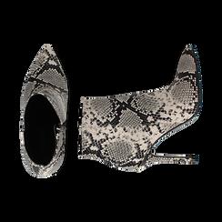 Ankle boots beige/neri effetto snake, tacco 11 cm , Stivaletti, 142182015PTBENE035, 003 preview