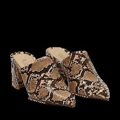 Mules beige in eco-pelle, tacco medio 7 cm, Scarpe, 132182398PTBEIG036, 002a