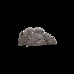 Sneakers grigie slip-on con dettagli faux-fur e borchie, Primadonna, 129300023MFGRIG035, 002