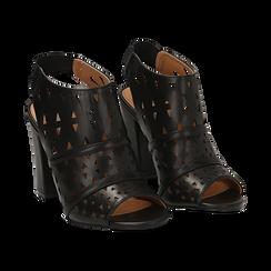 Sandali traforati neri in eco-pelle, tacco 10 cm,