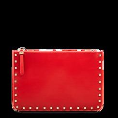 Clutch rossa in ecopelle con profilo mini-borchie, Primadonna, 123308330EPROSSUNI, 001a