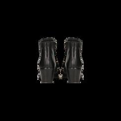 Tronchetti neri in vera pelle con punta tonda western, tacco 3 cm, Primadonna, 128900402VINERO036, 003 preview