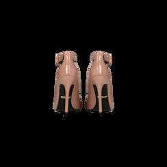 Décolleté rosa nude vernice con cinturino, tacco stiletto 11 cm, Scarpe, 122182062VENUDE, 003 preview