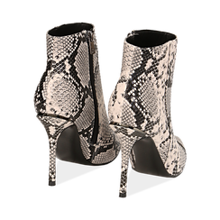 Ankle boots beige/neri effetto snake, tacco 11 cm , Stivaletti, 142182015PTBENE040, 004 preview