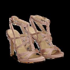Sandali multilistino nude in raso, tacco 10,50 cm, Scarpe, 132127406RSROSA035, 002a
