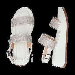 Sandali bianchi in microfibra, zeppa 4,50 cm , Scarpe, 154991102EPBIAN036, 003 preview