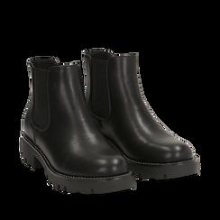 Chelsea boots neri in eco-pelle, Stivaletti, 140692720EPNERO035, 002a