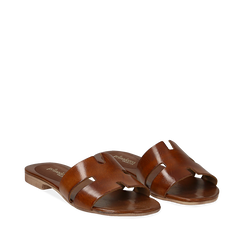 Sandalo flat cuoio in pelle di vacchetta, Scarpe, 137207245VACUOI036, 002a