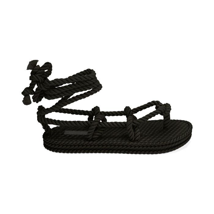 Sandali mare neri in tessuto , Primadonna, 170909004TSNERO035
