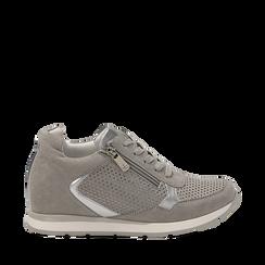 Sneakers grigie in microfibra con zip , Scarpe, 132899172MFGRIG036, 001a