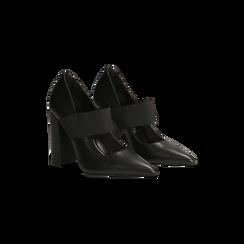 Décolleté nere con cinturino elastico, tacco 9 cm, Scarpe, 128485107EPNERO, 002 preview