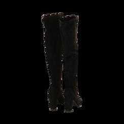 Stivali overknee neri in microfibra, tacco 9,50 cm , Primadonna, 163026515MFNERO035, 003 preview