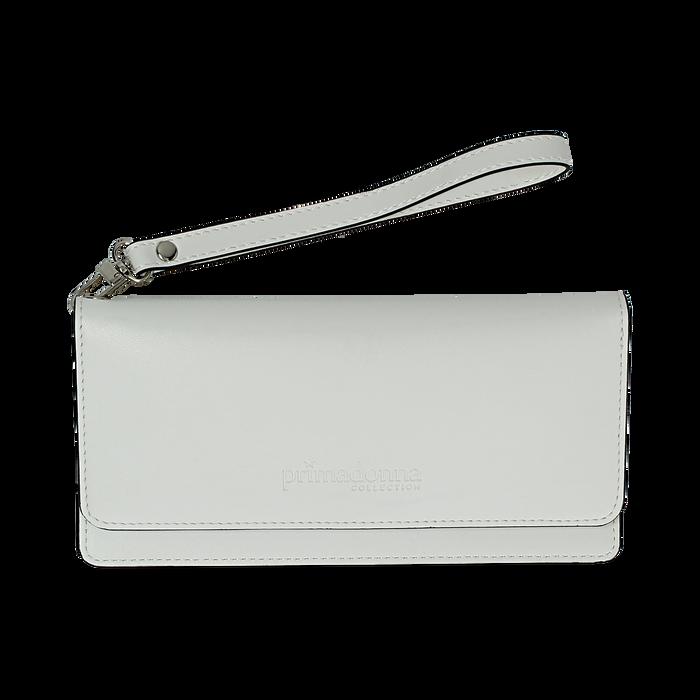 Portafoglio bianco in eco-pelle con laccetto per il polso, Borse, 133723651EPBIANUNI