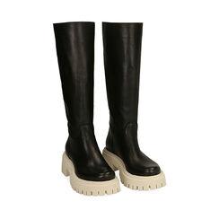 Stivali chunky neri in pelle, tacco 5 cm, Primadonna, 177261044PENERO036, 002a