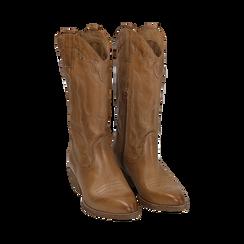 Camperos cuoio in pelle, tacco 4 cm, Scarpe, 157732902PECUOI038, 002 preview