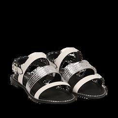 Sandali bianchi in eco-pelle, Saldi Estivi, 113006512EPBIAN035, 002a